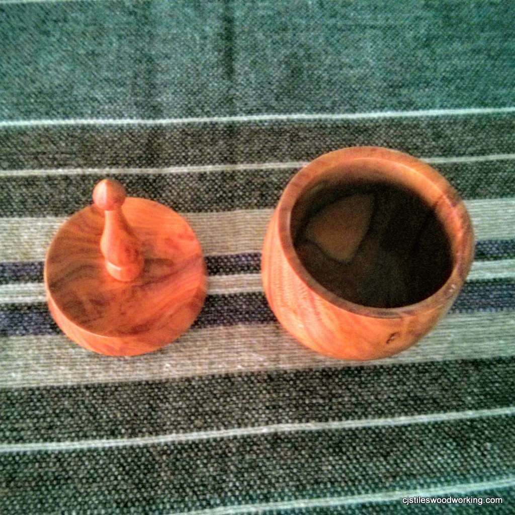 Plum wood ring holder box top view