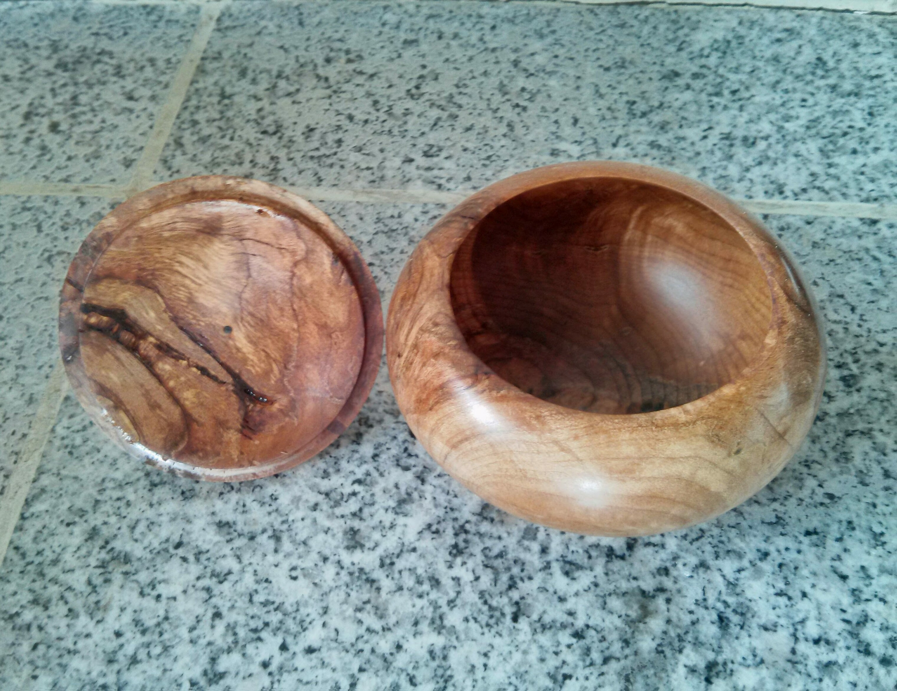 Lidded maple bowl inside view