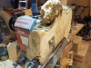 Maple burl on lathe