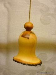 Christmas bell ornament made from plum wood