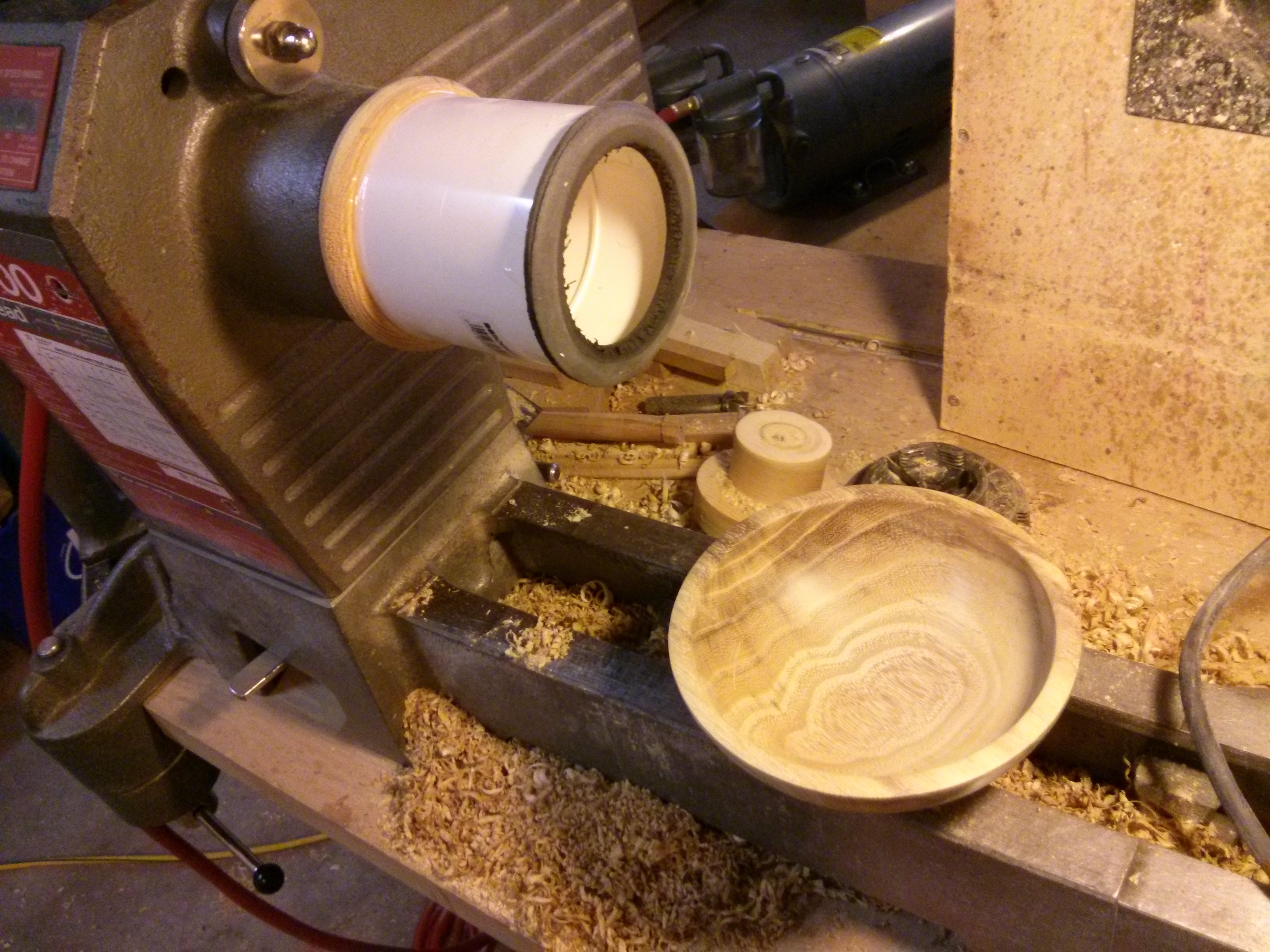 Bowl just off vacuum chuck