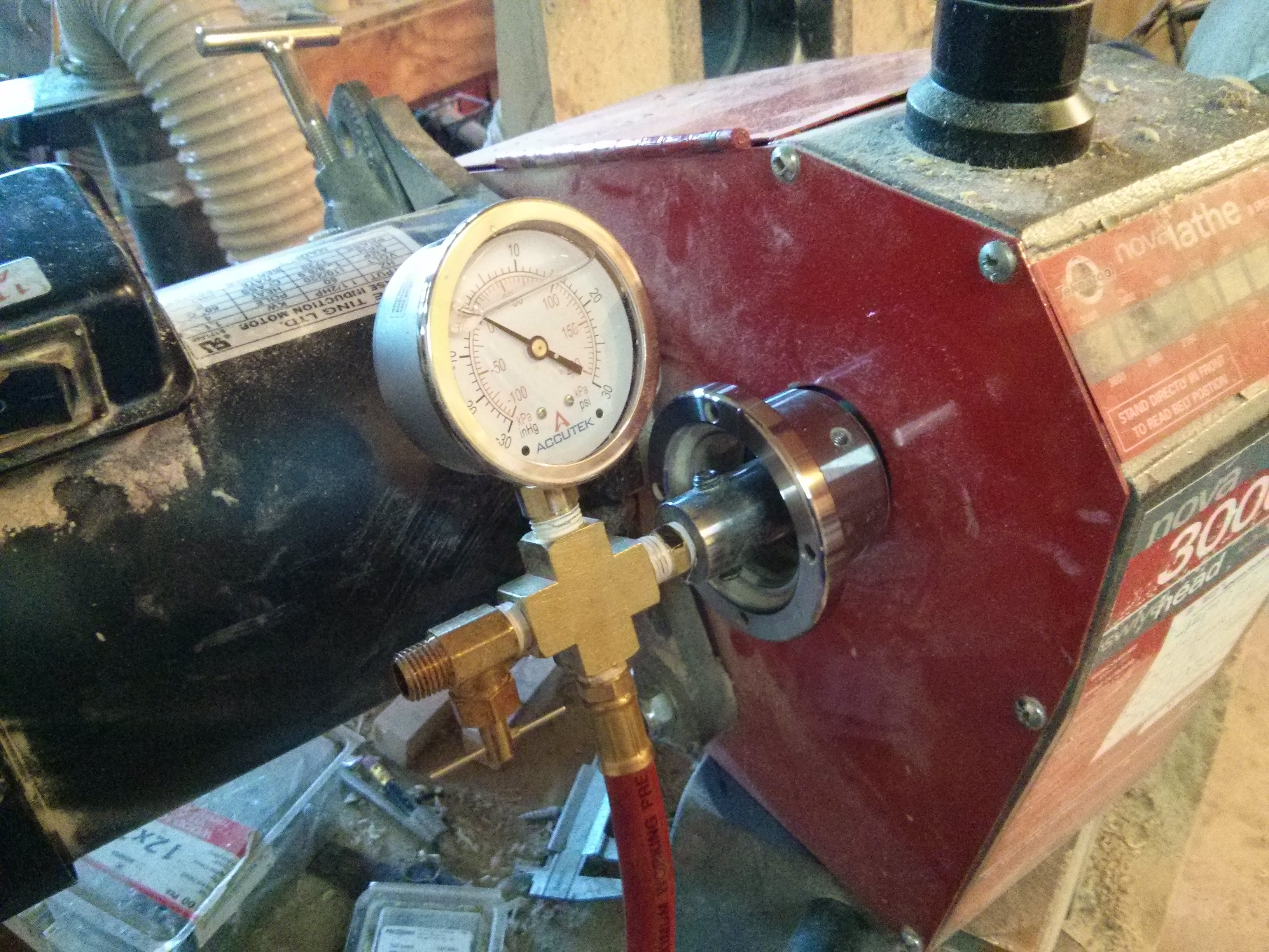 Gauge assembly on lathe